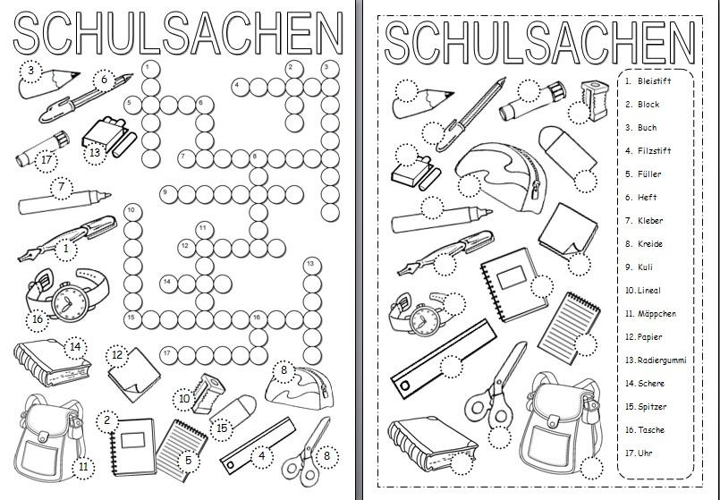 Arbeitsblatt Meine Schulsachen : Tolle schulsachen arbeitsblatt galerie arbeitsblätter